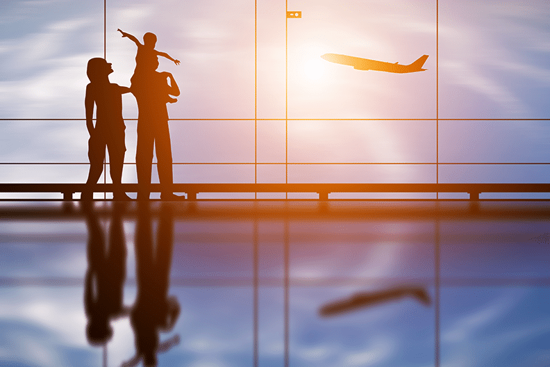 child and airplane silhouette
