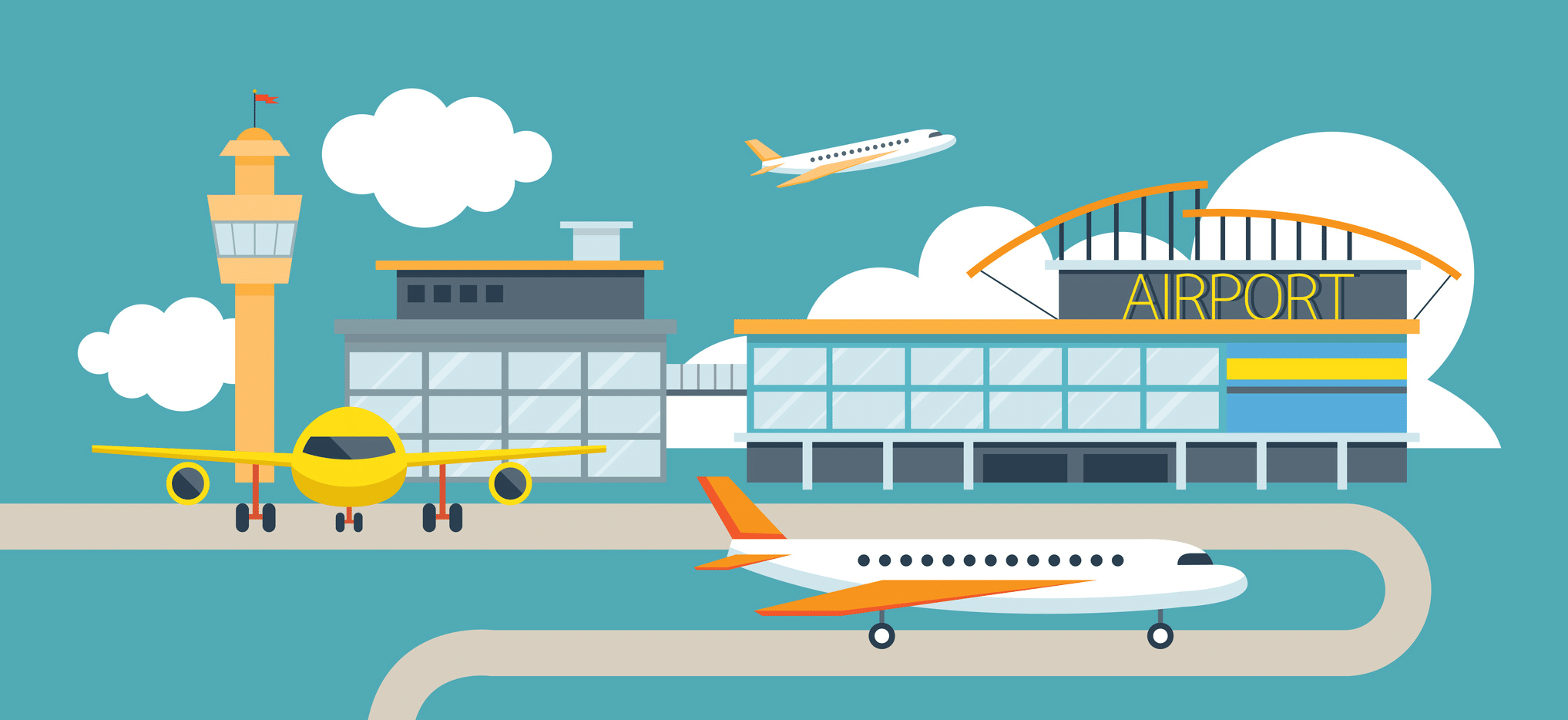 Airport Scene With Planes, Terminal and Control Tower