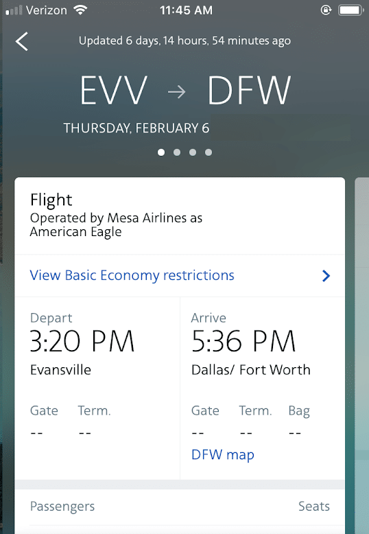 fear of flying in app check in american airlines